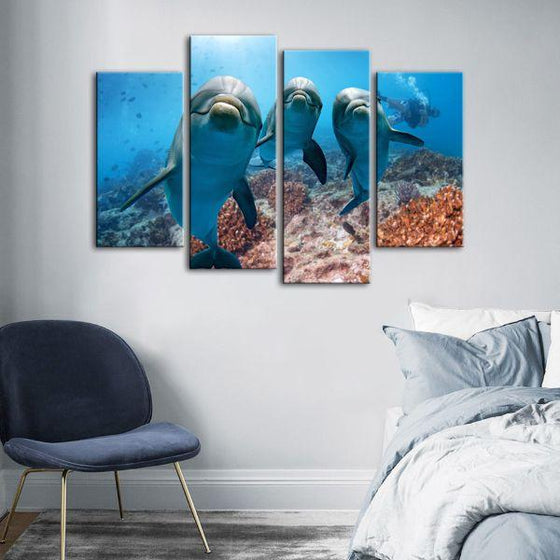 Dolphins Under The Ocean 4-Panel Canvas Wall Art Bedroom