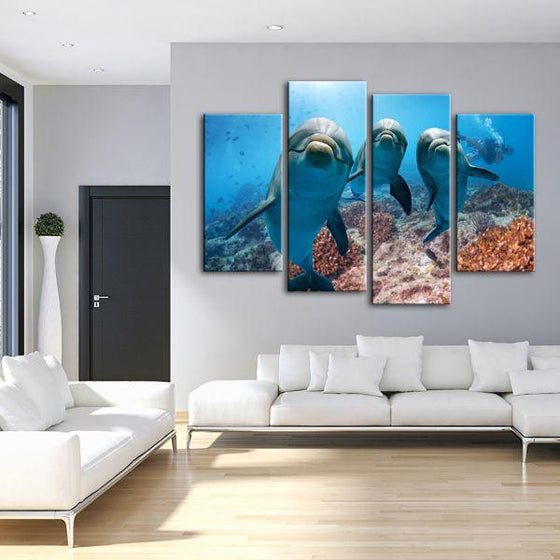 Dolphins Under The Ocean 4-Panel Canvas Wall Art Living Room