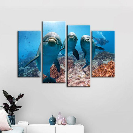 Dolphins Under The Ocean 4-Panel Canvas Wall Art Print