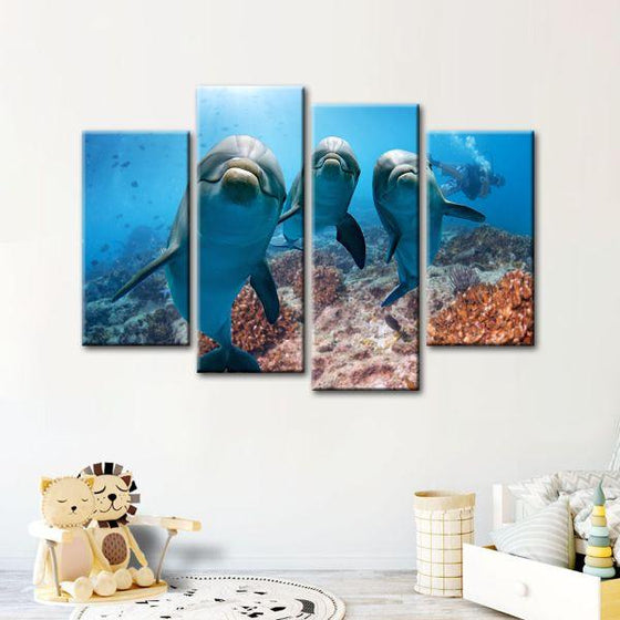 Dolphins Under The Ocean 4-Panel Canvas Wall Art Set