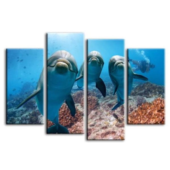 Dolphins Under The Ocean 4-Panel Canvas Wall Art