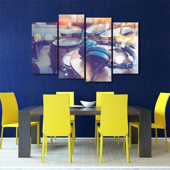 Drums & Headphone 4 Panels Canvas Wall Art Dining Room
