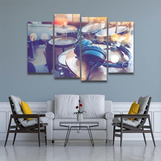 Drums & Headphone 4 Panels Canvas Wall Art Living Room