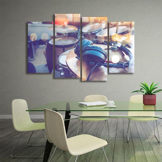 Drums & Headphone 4 Panels Canvas Wall Art Office