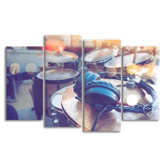 Drums & Headphone 4 Panels Canvas Wall Art