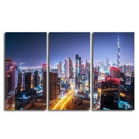 Dubai City Lights Canvas Wall Art Prints