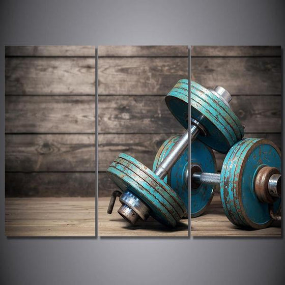 Blue Dumbbells Fitness Bodybuilding Canvas Wall Art