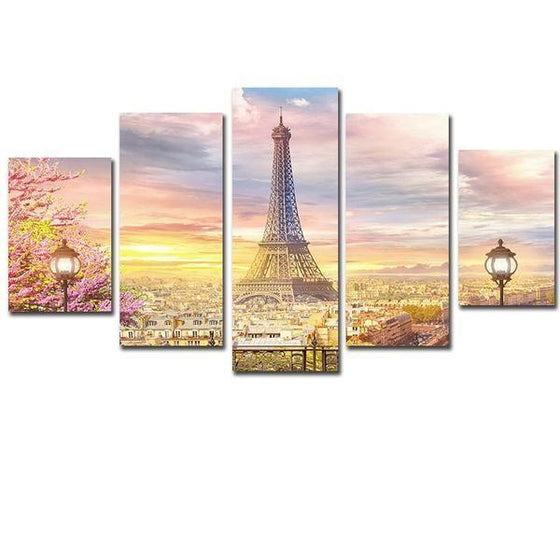 Eiffel Tower In Paris 5 Panels Canvas Wall Art