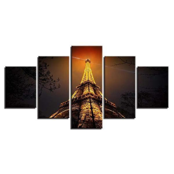 Eiffel Tower Night View Canvas Wall Art
