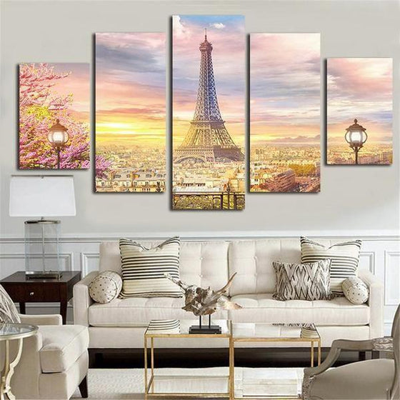 Eiffell Tower Of London 5 Panels Canvas Wall Art Living Room