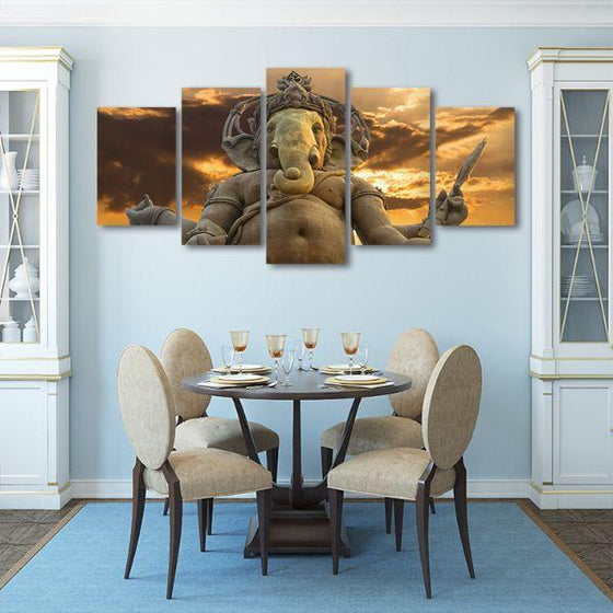 Elephant God Ganesha Canvas Wall Art Dining Room