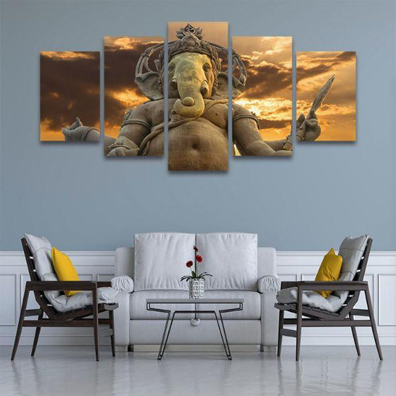 Elephant God Ganesha Canvas Wall Art Set