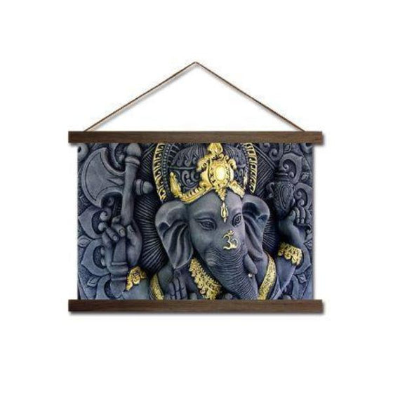 Elephant Head Ganesha Scroll Canvas Wall Art
