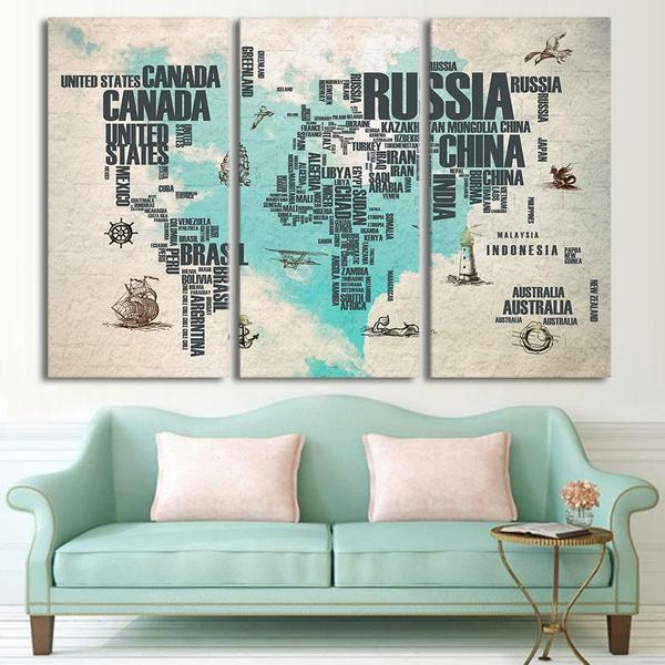 Extra Large World Map Wall Art Canvas