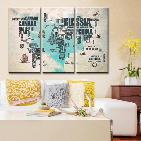 Extra Large World Map Wall Art Canvases
