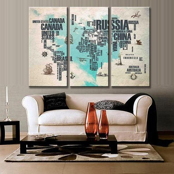 Extra Large World Map Wall Art Decor