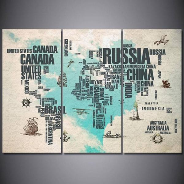 Extra Large World Map Wall Art Decors