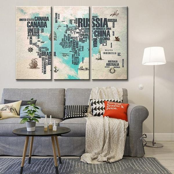 Extra Large World Map Wall Art
