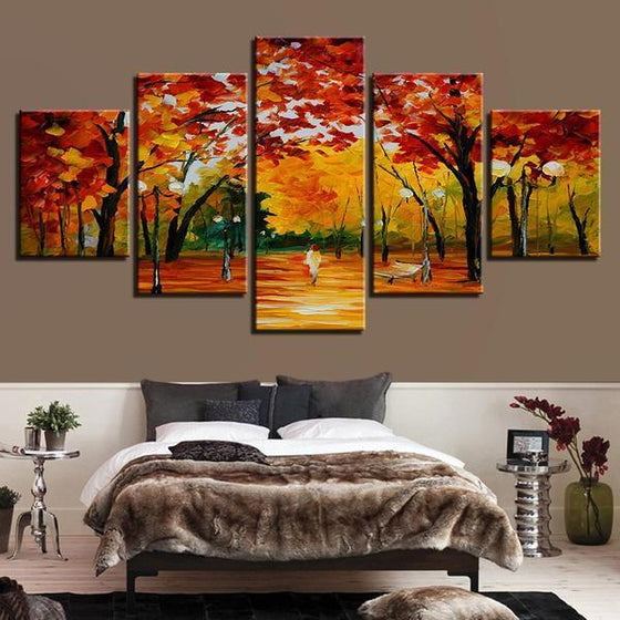 Autumn Trees At The Park Canvas Wall Art Bedroom