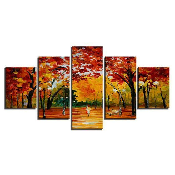Autumn Trees At The Park Canvas Wall Art