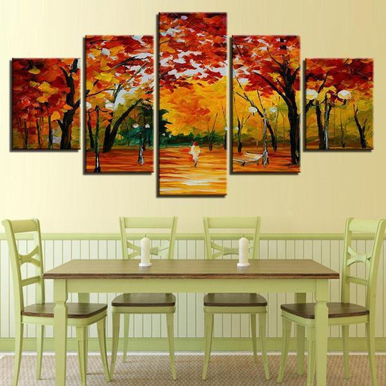 Autumn Trees At The Park Canvas Wall Art Dining Room