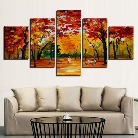 Autumn Trees At The Park Canvas Wall Art Living Room