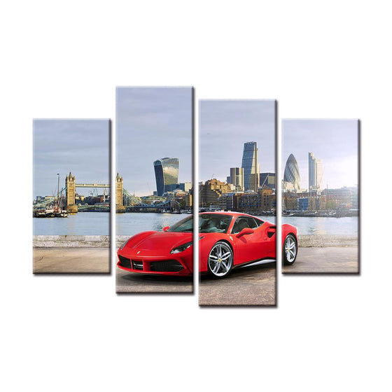 Red Ferrari 488 GTB Canvas Wall Art Prints