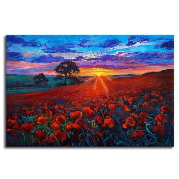 Field Of Red Poppies Canvas Wall Art | Floral-Themed Canvas Print ...