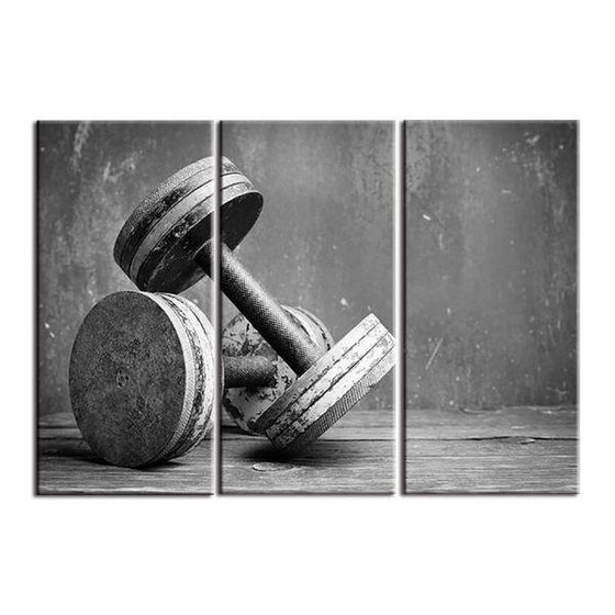 Fitness Equipment Dumbells Canvas Wall Art