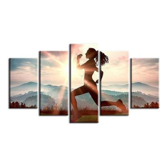 Fitness Run Sunshine Canvas Wall Art