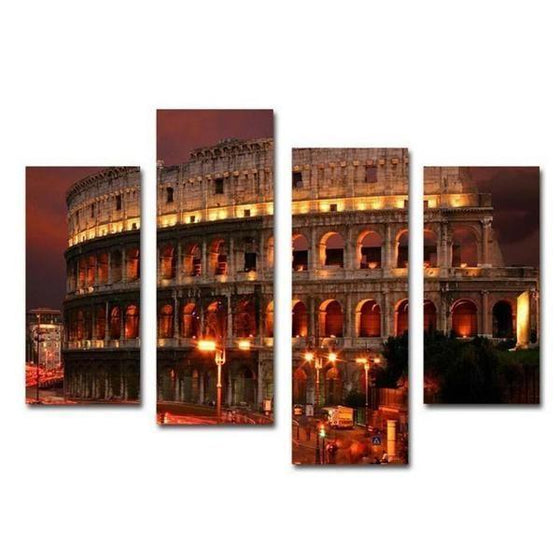 Flavian Amphitheatre At Night Canvas Wall Art