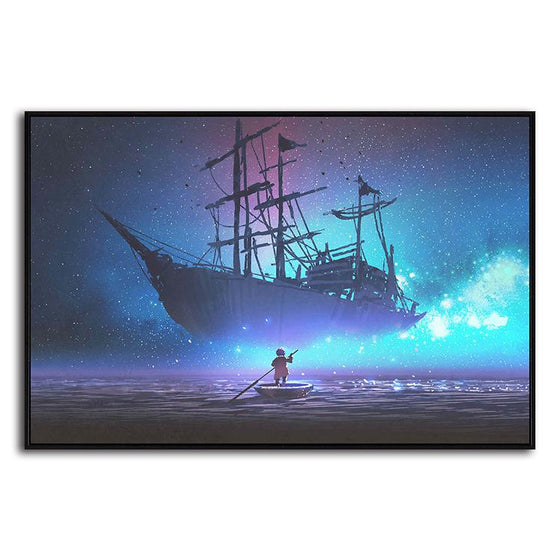 Starry Sky & Pirate Ship 1 Panel Canvas Art