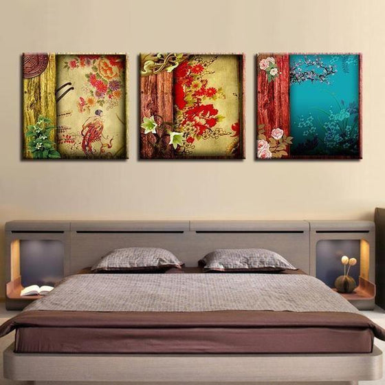Chinese Flower Pattern Canvas Wall Art  Bedroom