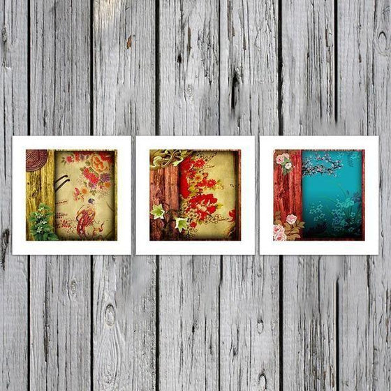 Chinese Flower Pattern Canvas Wall Art