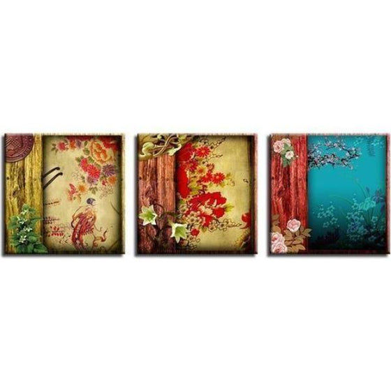 Chinese Flower Pattern Canvas Wall Art  Home Decor