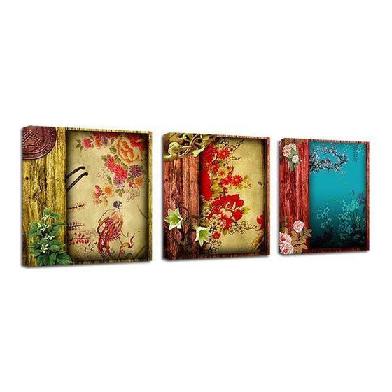 Chinese Flower Pattern Canvas Wall Art  Prints