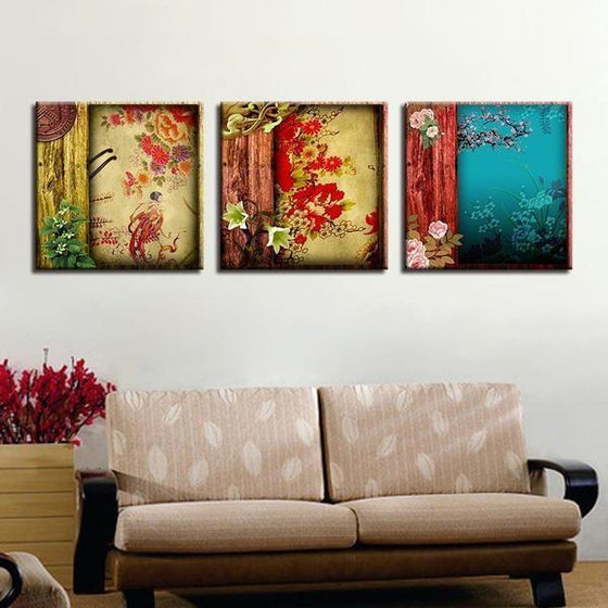 Chinese Flower Pattern Canvas Wall Art Living Room