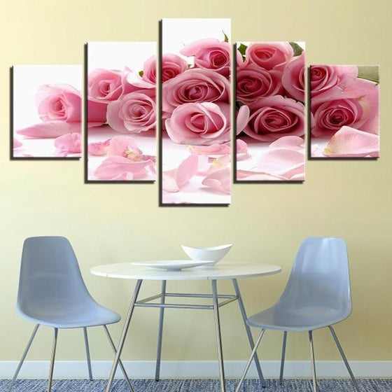 Bouquet Of Pink Roses Canvas Wall Art