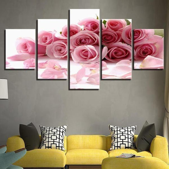 Bouquet Of Pink Roses Canvas Wall Art Living Room