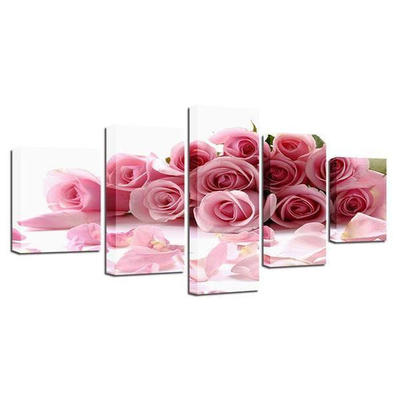 Bouquet Of Pink Roses Canvas Wall Art Prints