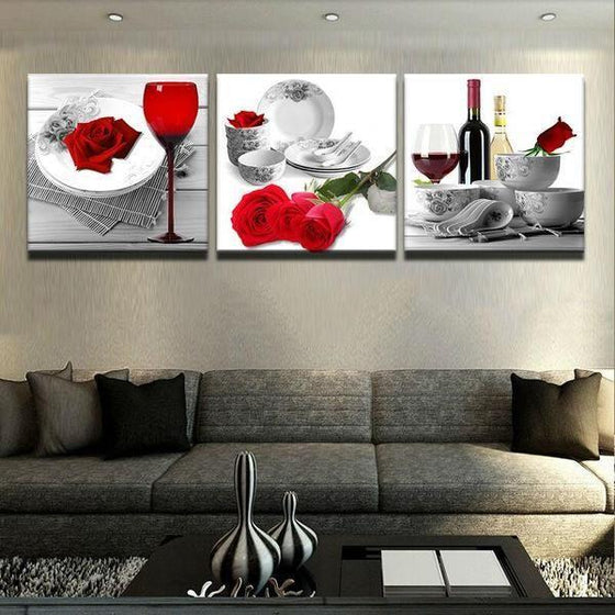 Bright Red Roses Canvas Wall Art Living Room Decor