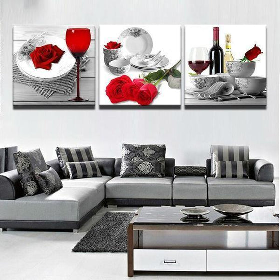 Bright Red Roses Canvas Wall Art Living Room