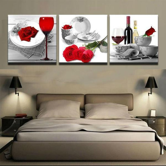 Bright Red Roses Canvas Wall Art Bedroom
