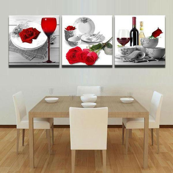 Bright Red Roses Canvas Wall Art Dining Room
