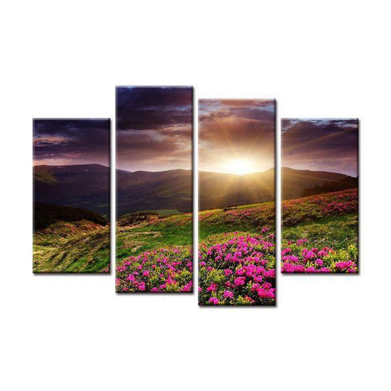 Flower Field Sunset Canvas Wall Art