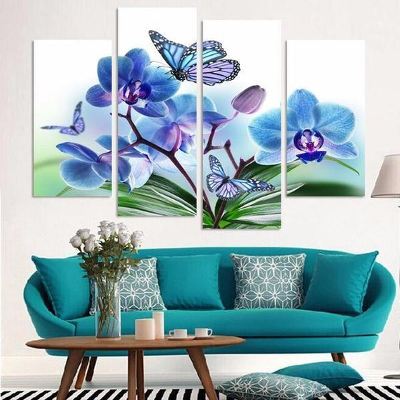 Blue Orchids And Butterflies Canvas Wall Art Living Room