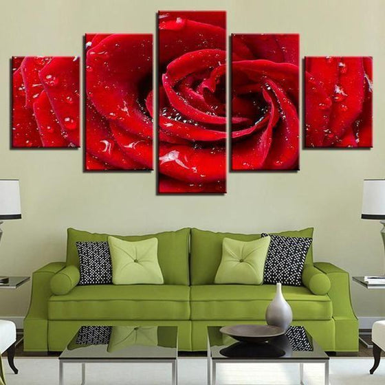 Bloomed Red Rose Canvas Wall Art Living Room