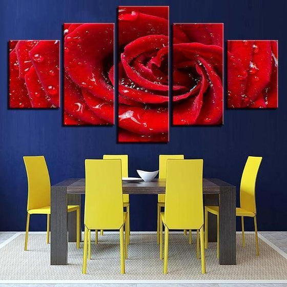 Bloomed Red Rose Canvas Wall Art Dining Room