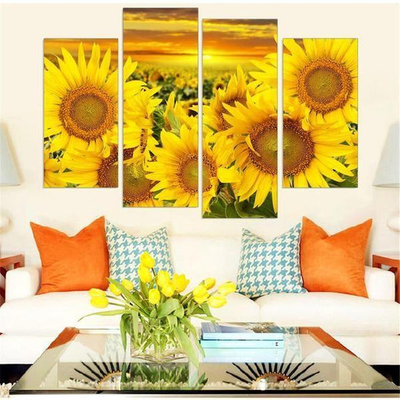 Blooming Sunflowers Canvas Wall Art Living Room Decor