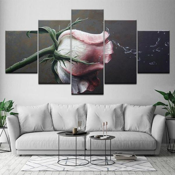 Pink Rose Flower Canvas Wall Art Living Room